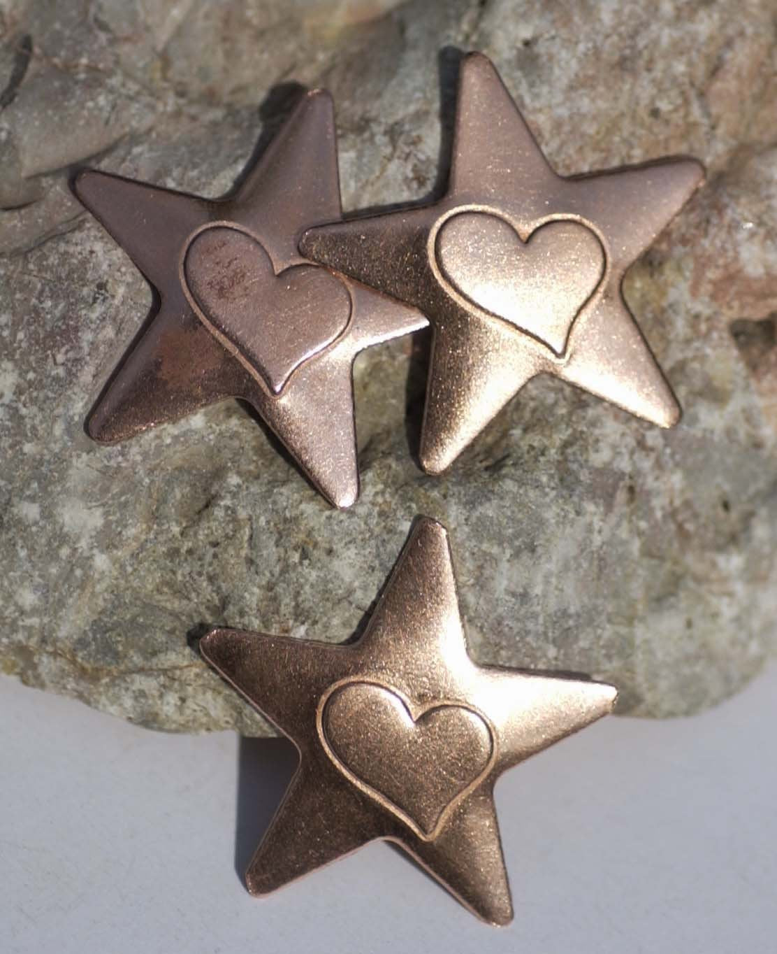31mm Star with Heart Embossed Blank Cutout for Enameling Stamping Texturing Metalworking Jewelry Making Blanks - 4 pieces