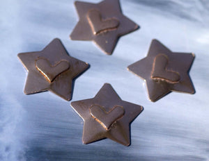 Star shape with Heart Embossed Blank Cutout for Enameling Stamping Texturing Metalworking Jewelry Making Blanks - 4 pieces