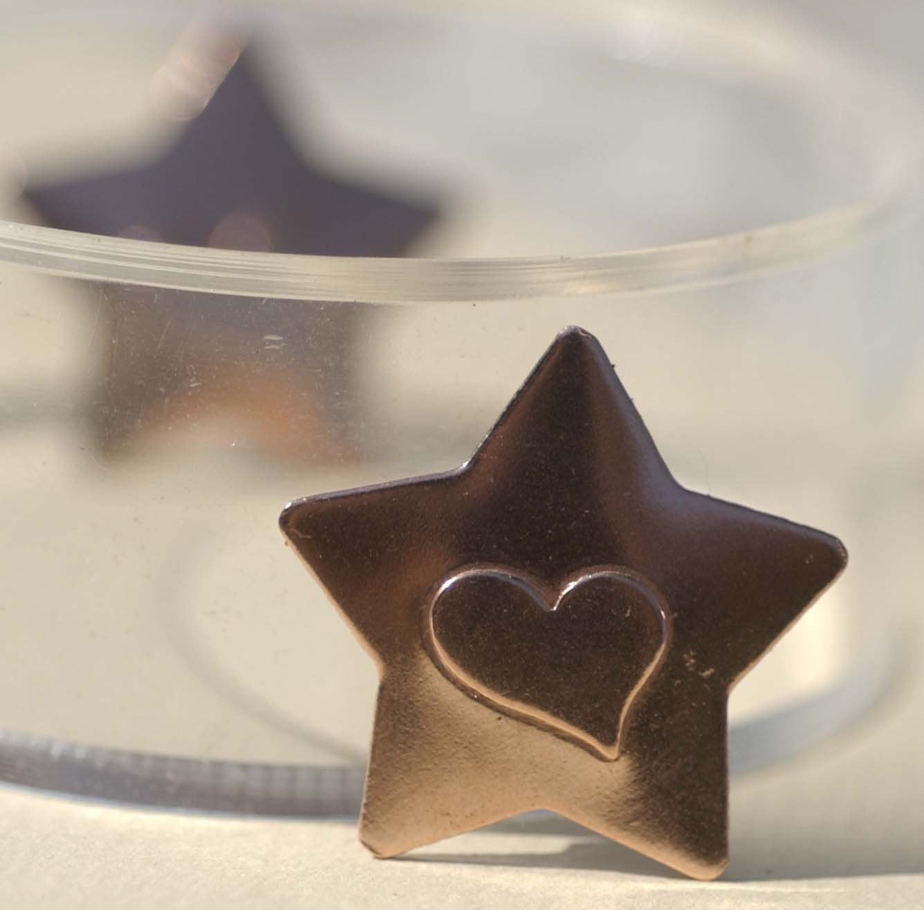 Stars with Heart Embossed Blank Cutout for Enameling Stamping Texturing Metalworking Jewelry Making Blanks - 4 pieces