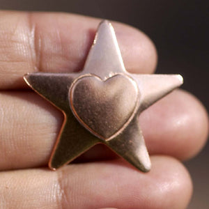 Stars with heart embossed Blank Cutout for Enameling