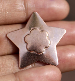 Star shaped Flower Embossed Blank Cutout for Jewelry Making metal blanks