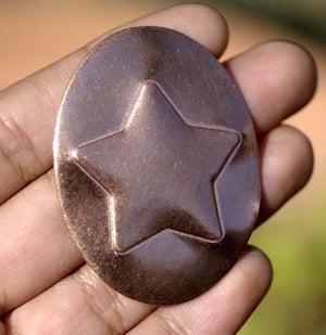 50mm x 38mm Oval with Star Embossed Blanks Enameling Stamping Texturing