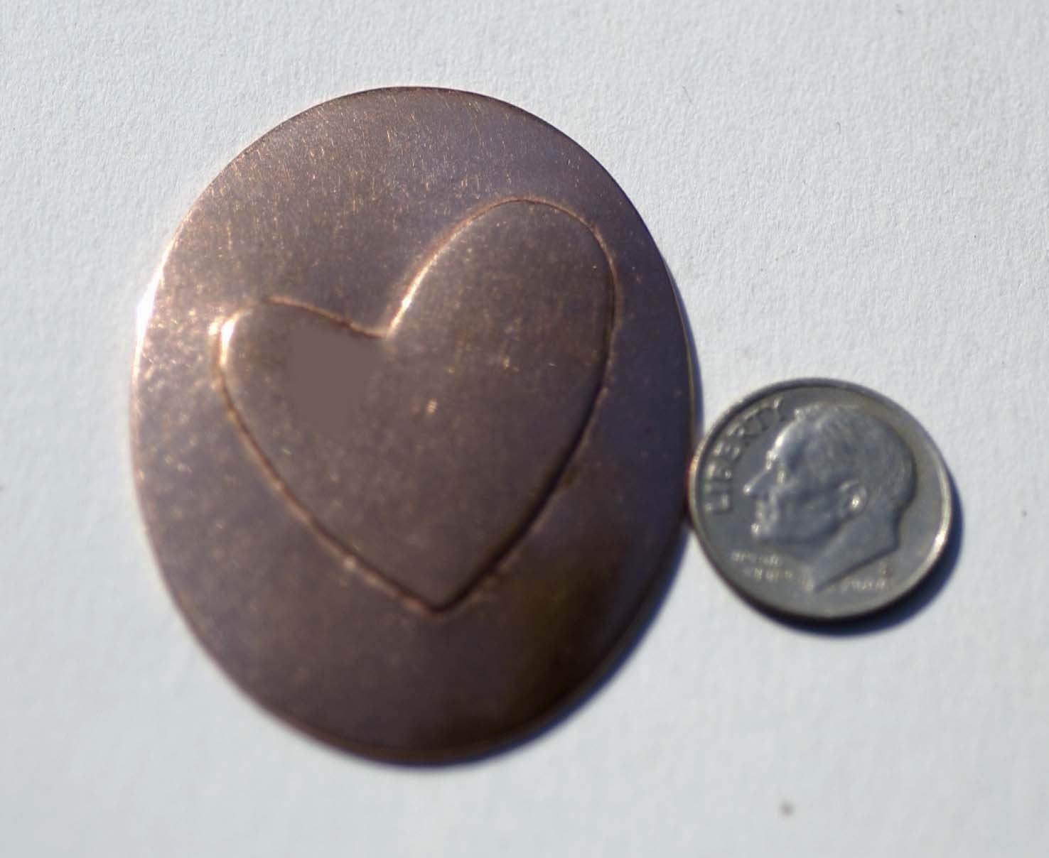 27mm x 30mm Heart Embossed on Oval Blanks Enameling Stamping Texturing