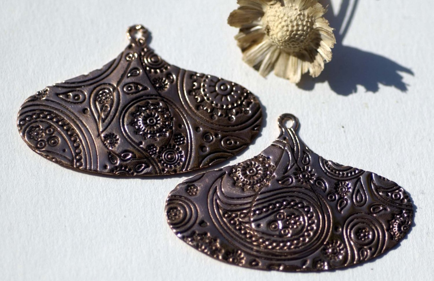 24mm x 15mm Teardrop Embossed Paisley Texture Shape Cutout Blank for Metalwork Enameling Stamping Texturing Blanks Variety of Metals
