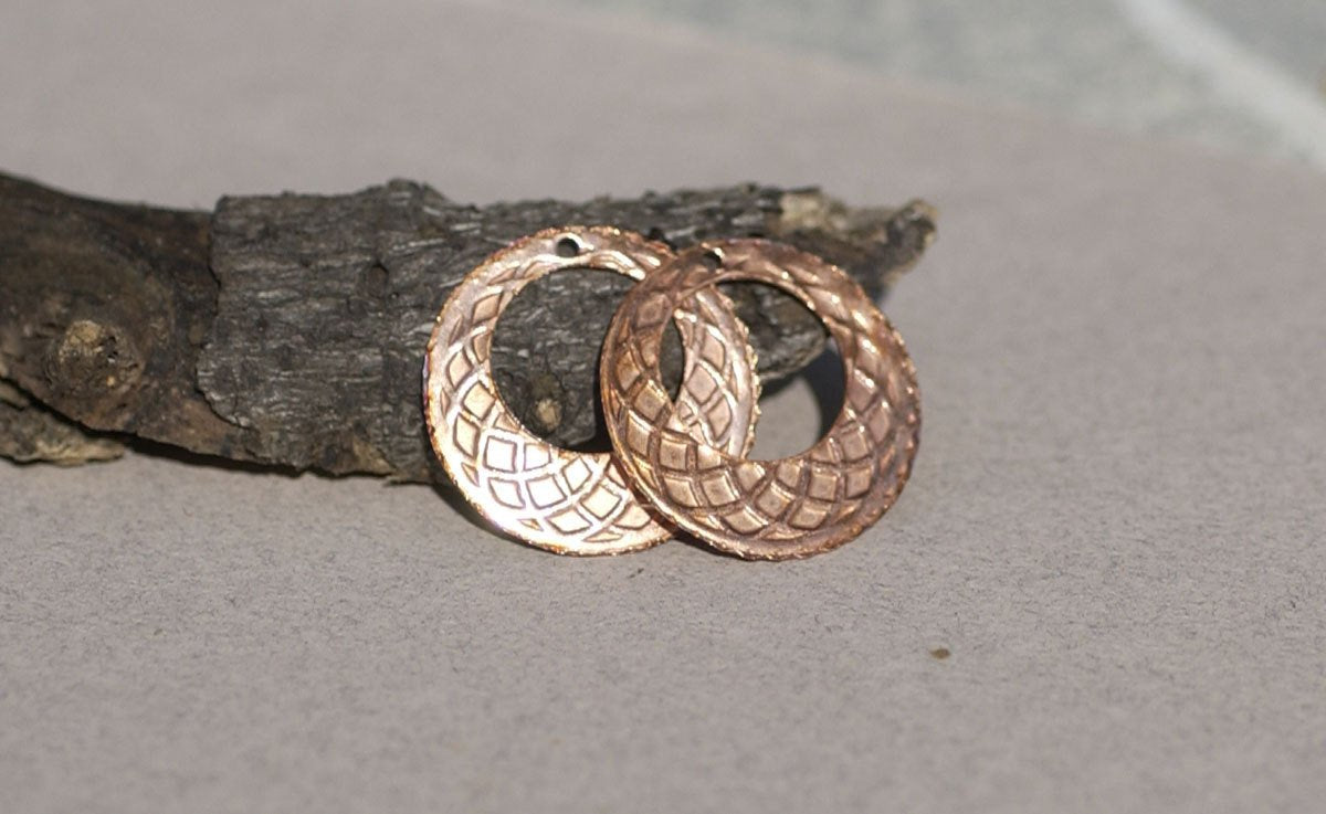 26mm Circle of Life Blank Hoops for Earrings -Pendant Offset Circle for Enameling Stamping Texturing Charms, Variety of Metals - 4 Pieces