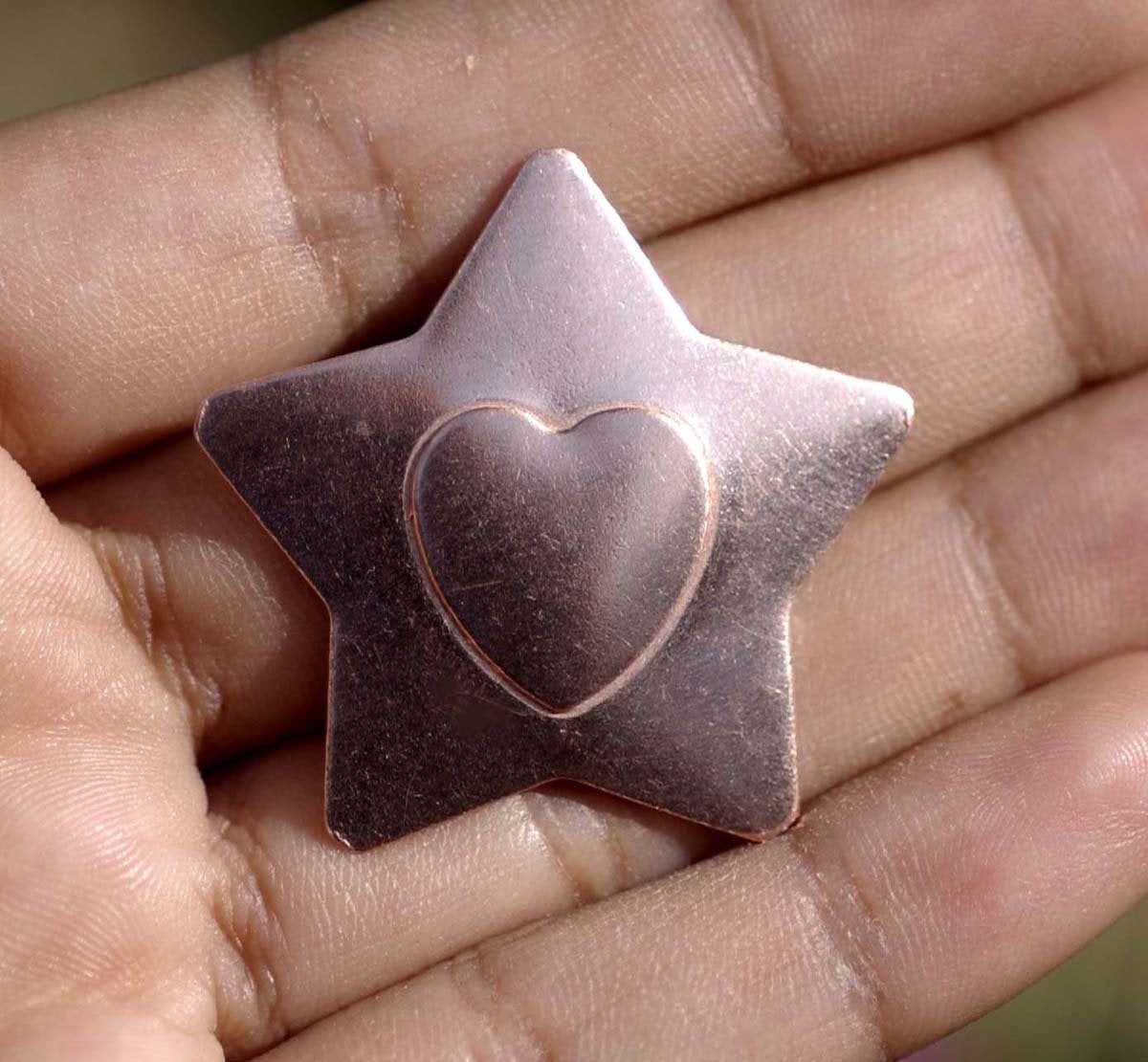 Star shaped blanks with Embossed hearts