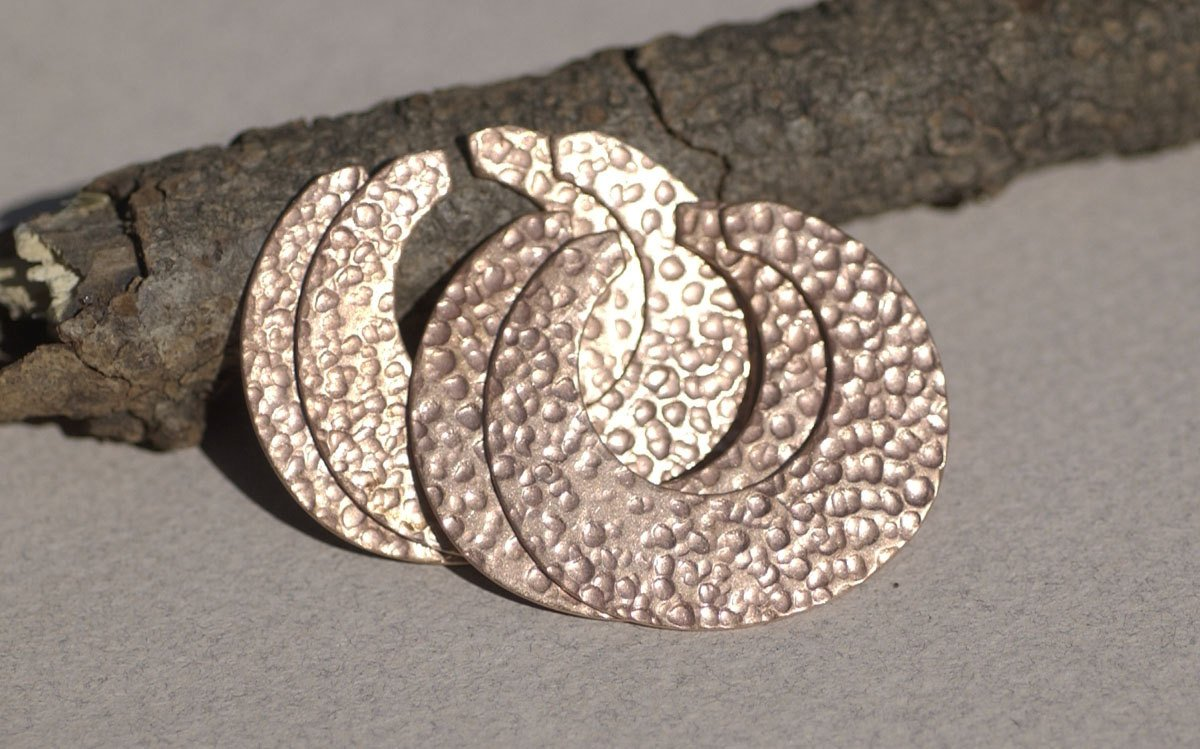 Dappled Hammered Blank Hoops 35mm x 32mm 24g for Earrings or Pendant Circle for Enameling Stamping Texturing Variety of Metals - 4 pieces