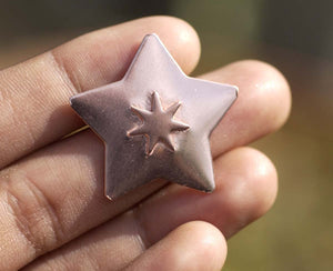 30.5mm Star with 10.8mm Star Embossed Blank Cutout for Enameling Stamping Texturing Metalworking Jewelry Making Blanks