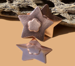 Star with Flower Embossed Blank Cutout for Enameling Stamping Texturing Metalworking Jewelry Making Blanks