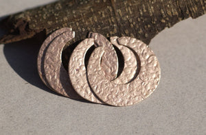 Hoops Circle Antique Hammered Pattern 35mm x 32mm 24g for Earrings or Pendant for Enameling Blank Stamping Texturing Variety of Metals