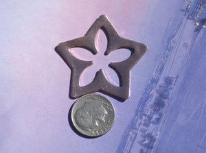 Star Starry Starry Night -Star with Flower 5 Petal Blank - Cutout for Enameling Stamping Texturing Variety of Metals