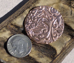 Disc 30mm in Lotus Flowers Pattern Enameling Soldering Stamping Metal Blank - 4 Pieces
