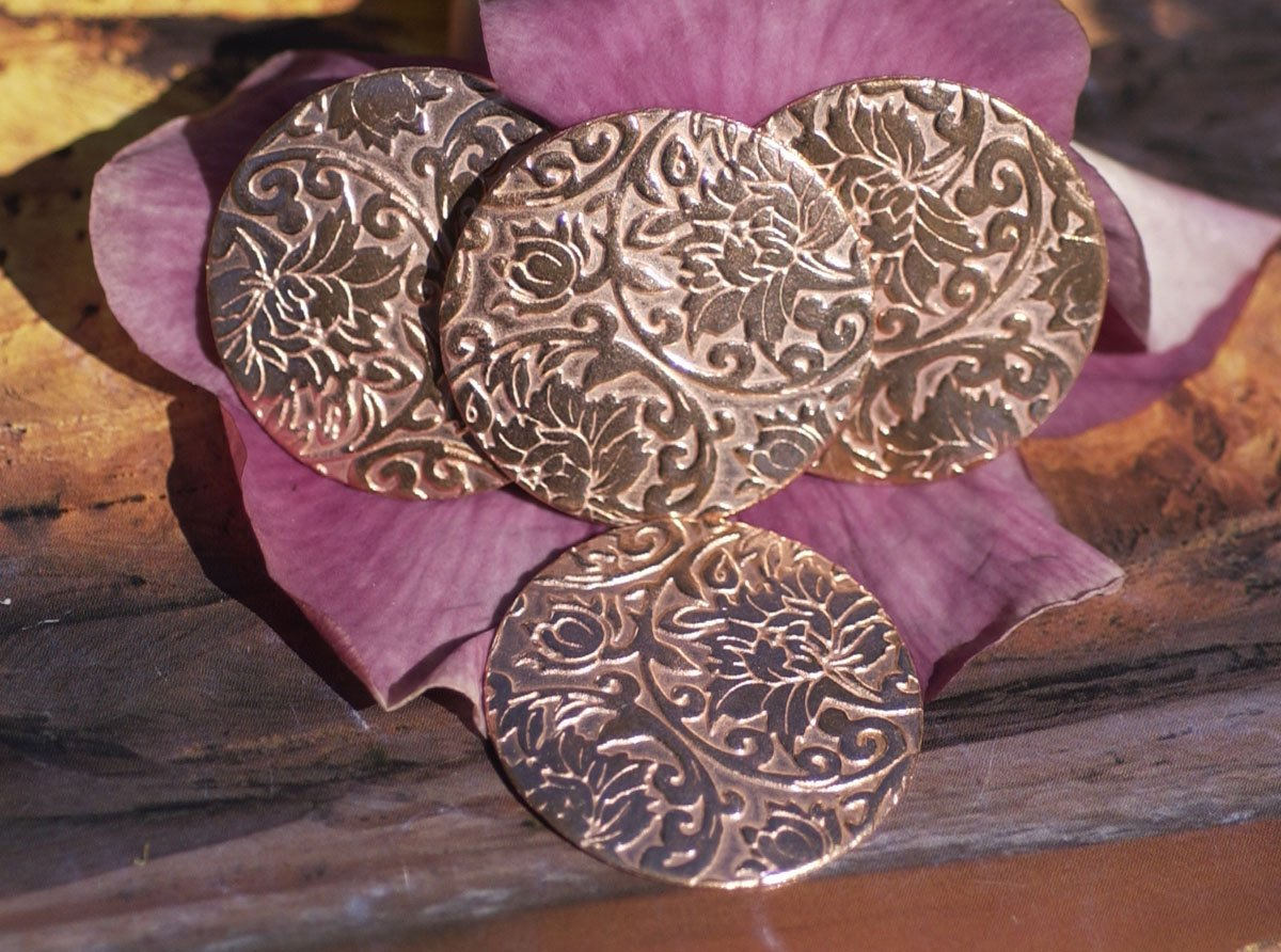 Round with Pattern 38mm Jewelry Cutout, Enameling Soldering Stamping Blank - 4 Pieces