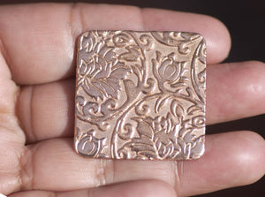 Square 32mm in Lotus Flowers Textured Cutout for Blanks Enameling Stamping Texturing Variety of Metals