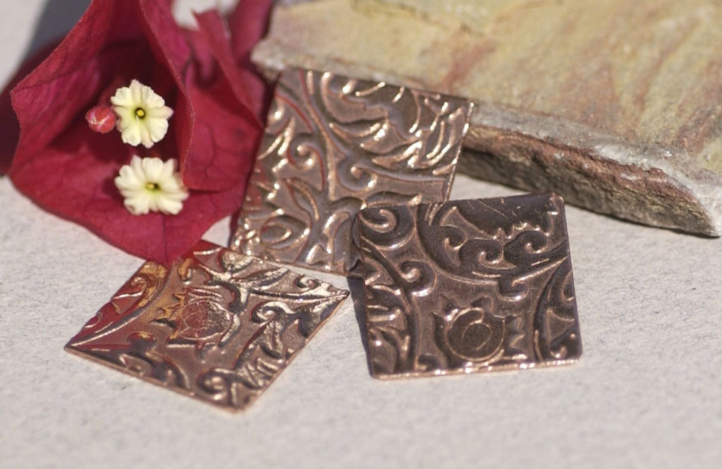 Square 20mm in Lotus Flowers Pattern Cutout for Polished Textured Blanks Shape Variety of Metals - 6 pieces