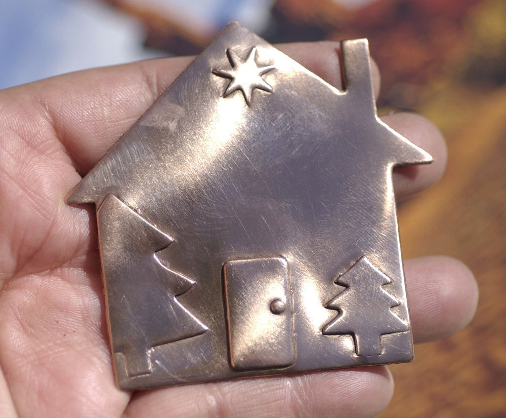 Christmas House 67mm x 64mm Embossed Cutout Shape for Metalworking Jewelry Making Shape Blank Variety of Metals