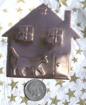 Kitty House 67mm x 64mm Embossed Cutout Shape for Metalworking Jewelry Making Shape Blank Variety Metals