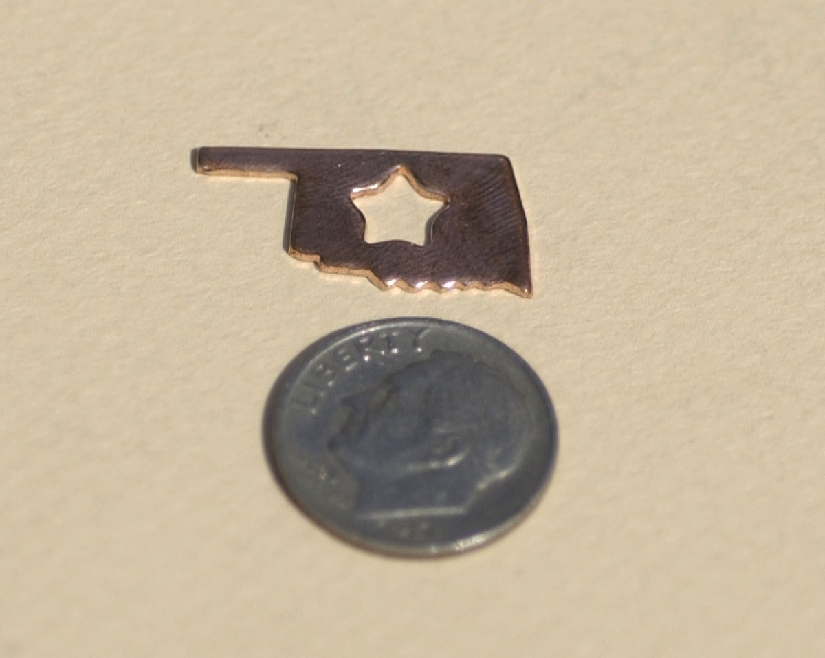 Tiny Oklahoma State With Star Blanks Cutout for Metalworking Stamping Texturing Blank Variety of Metals - 6 pieces