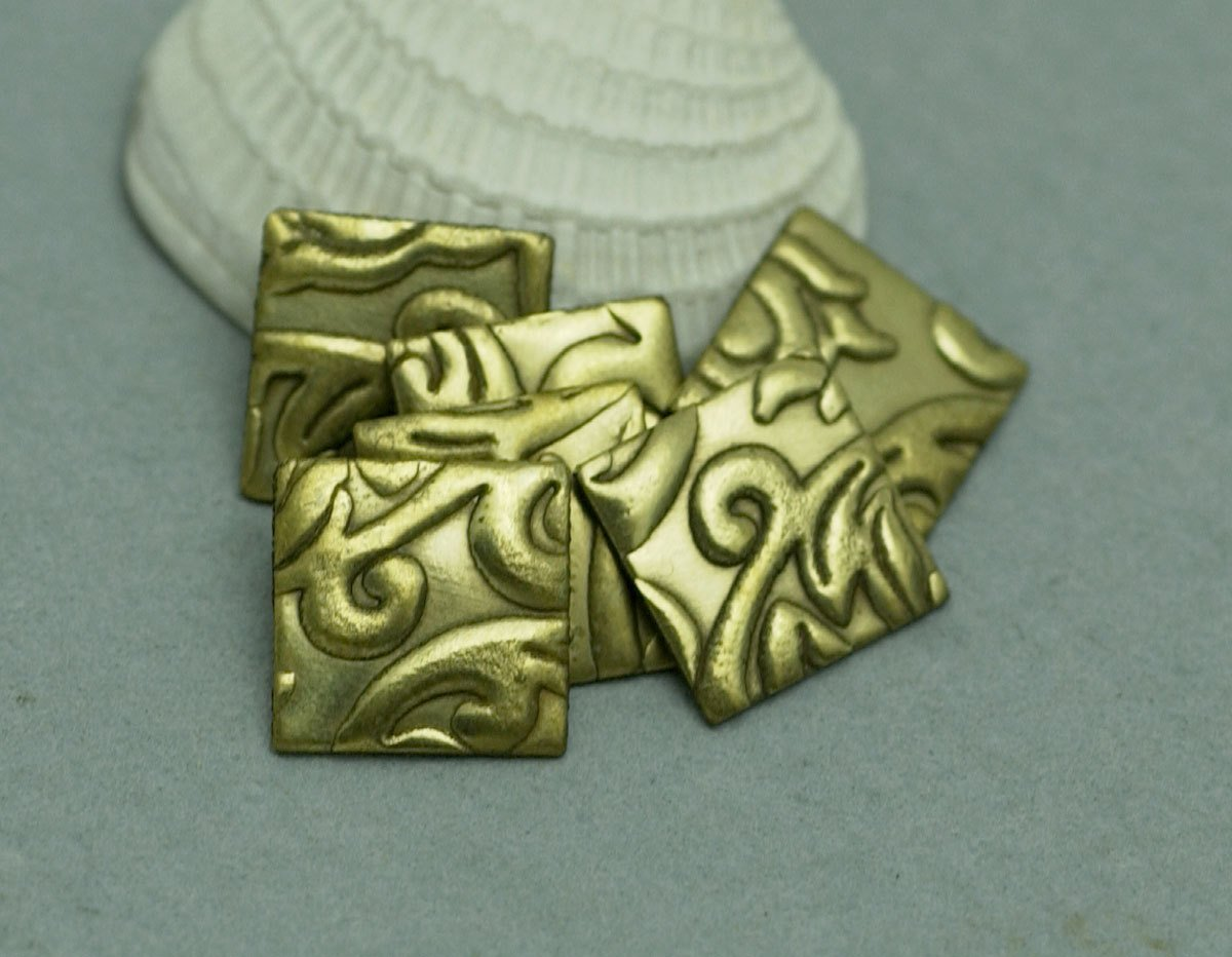 Tiny Square 10mm 24g Lotus Flowers Textured Cutout for Stamping Texturing Blank