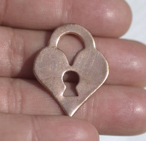 Perfect Heart Padlock 28mm x 22mm Metal Blanks Shape Form for Metalworking Soldering Blank - 4 pieces