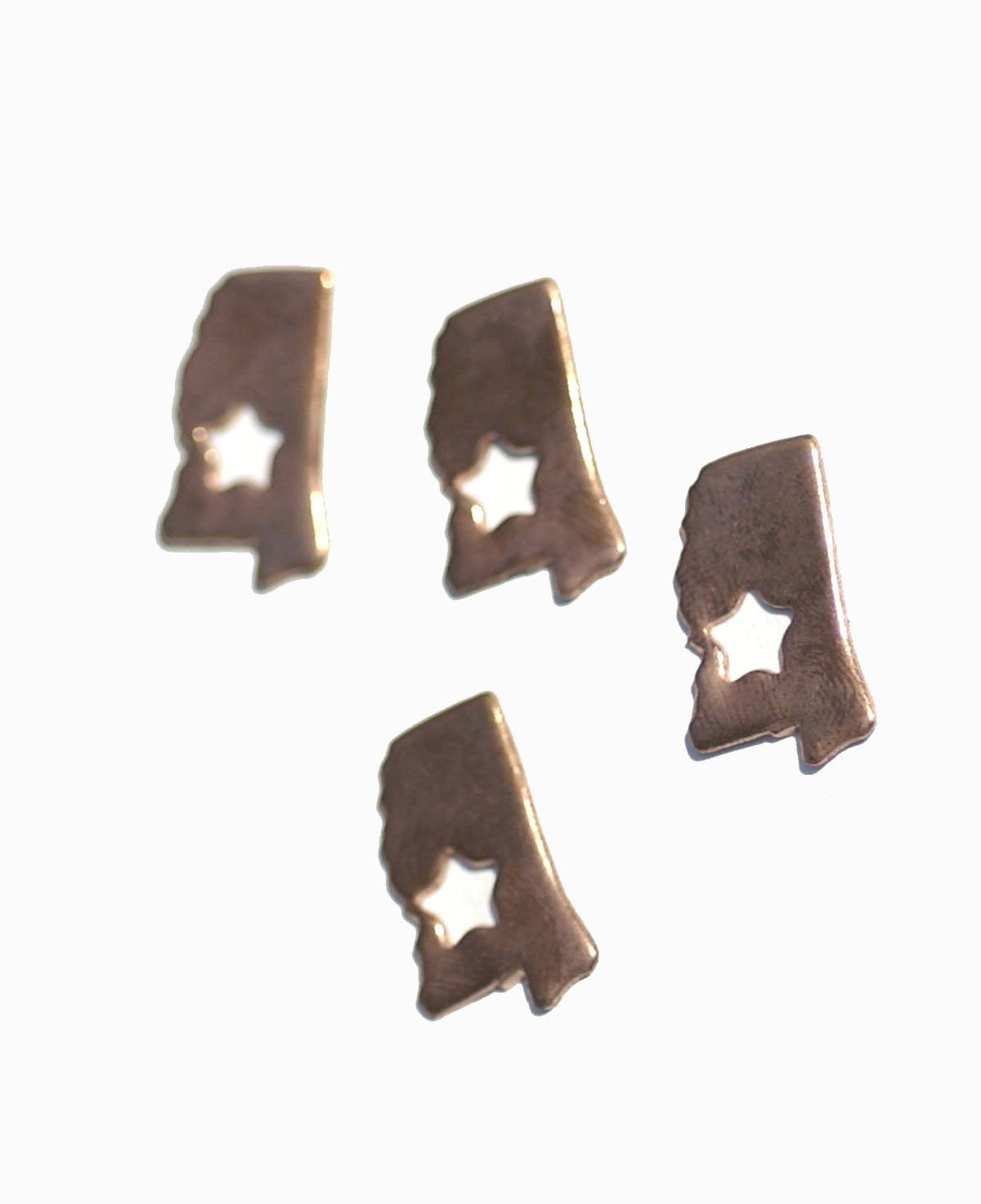Mississippi Small State With Star Blanks Cutout for Enameling Metalworking Stamping Texturing Blank Variety of Metals - 6 pieces