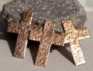 Hammered Religious Cross 36mm x 27mm Blanks Cutout for Enameling Stamping Texturing - 4 pieces