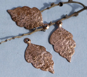 Hammered Leaf Charm with Hole 35 x 20mm