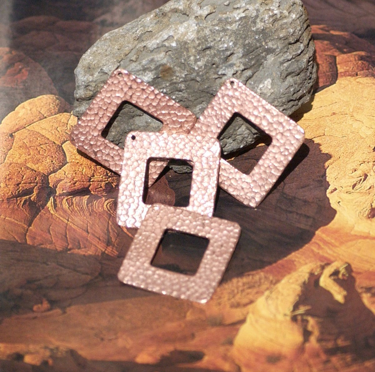 Hammered Copper Square 32mm Blank Cutout with hole for Enameling Stamping Texturing Blanks - 4 pieces