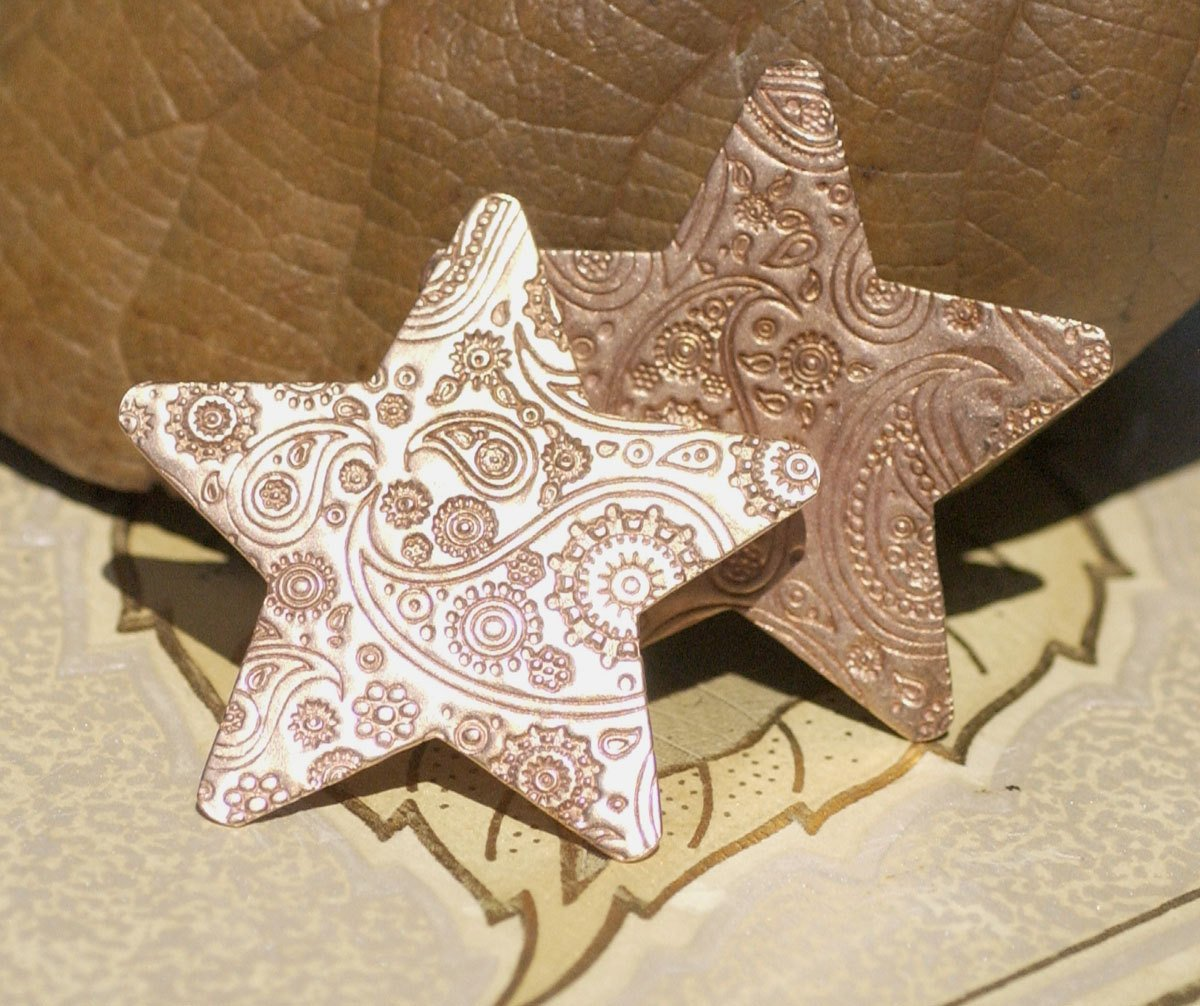 Copper Star Blank 20 Gauge Paisley Pattern Copper Stamping Blank Cutout for Enameling