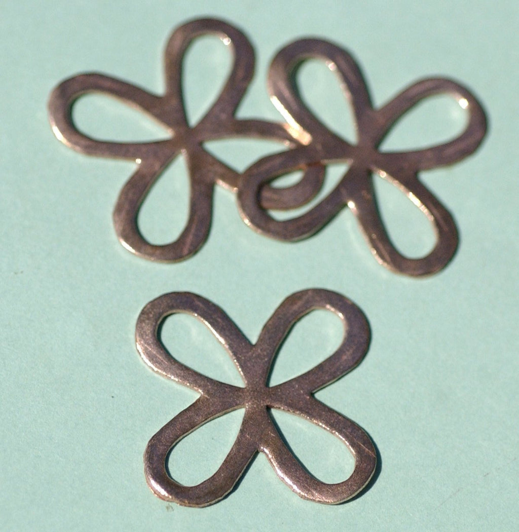 Flower with Flower Center Blanks Cutout for Enameling Stamping Texturing Soldering Jewelry Making - 4 pieces