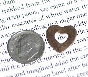 Heart on Heart Blanks Cutout for Enameling Stamping Texturing Variety of Metals