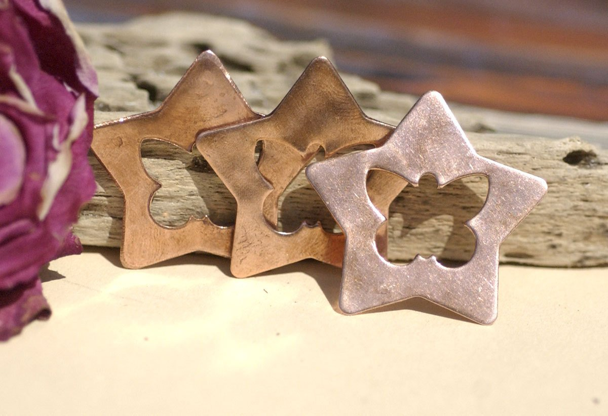 Copper Blanks Star with Butterfly 36mm 22g Cutout Blank for Enameling Stamping Texturing Blanks Variety of Metals - 4 pieces