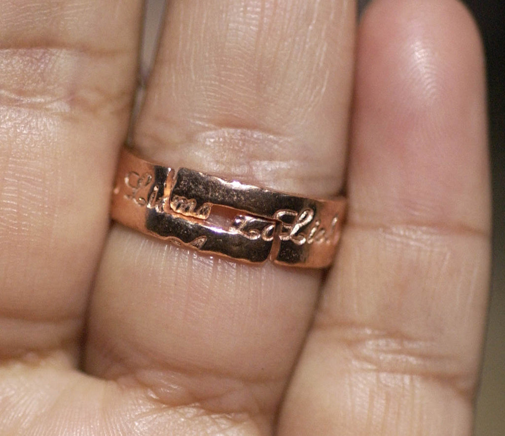 Copper Adjustable Ring Claw Setting For Natural Stones or Whatever with LOVE Pattern