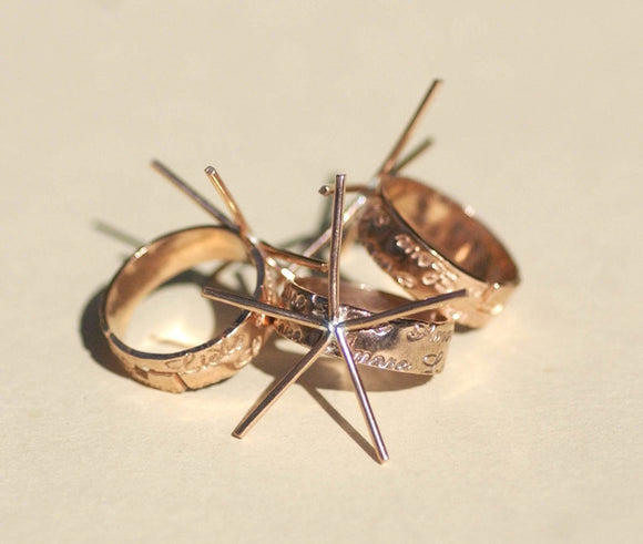 Adjustable Ring Claw LOVE Pattern Copper Setting For Natural Stones or Whatever