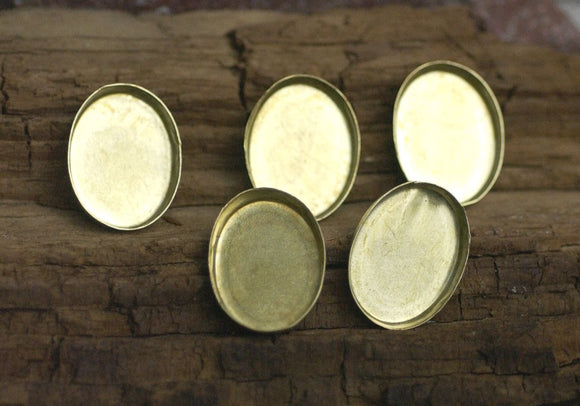 Oval Bezel Cups Blank - 30g - 21mm x 16mm OD, 3.2mm tall for Enameling Soldering Texturing Jewelry Making Blanks Variety of Metals