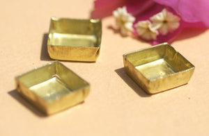 Bezel Cups - 30g - 14.8mm Square Blanks Cutout for Enameling Variety of Metals