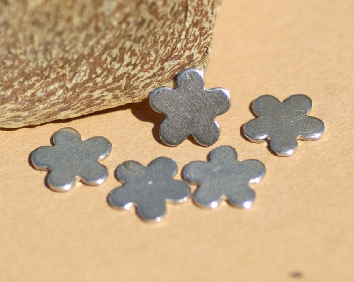 Sterling Silver Little Flower 5 Petal 9mm Blank Cutout Shape for Jewelry Making Metalworking 925   6 pieces