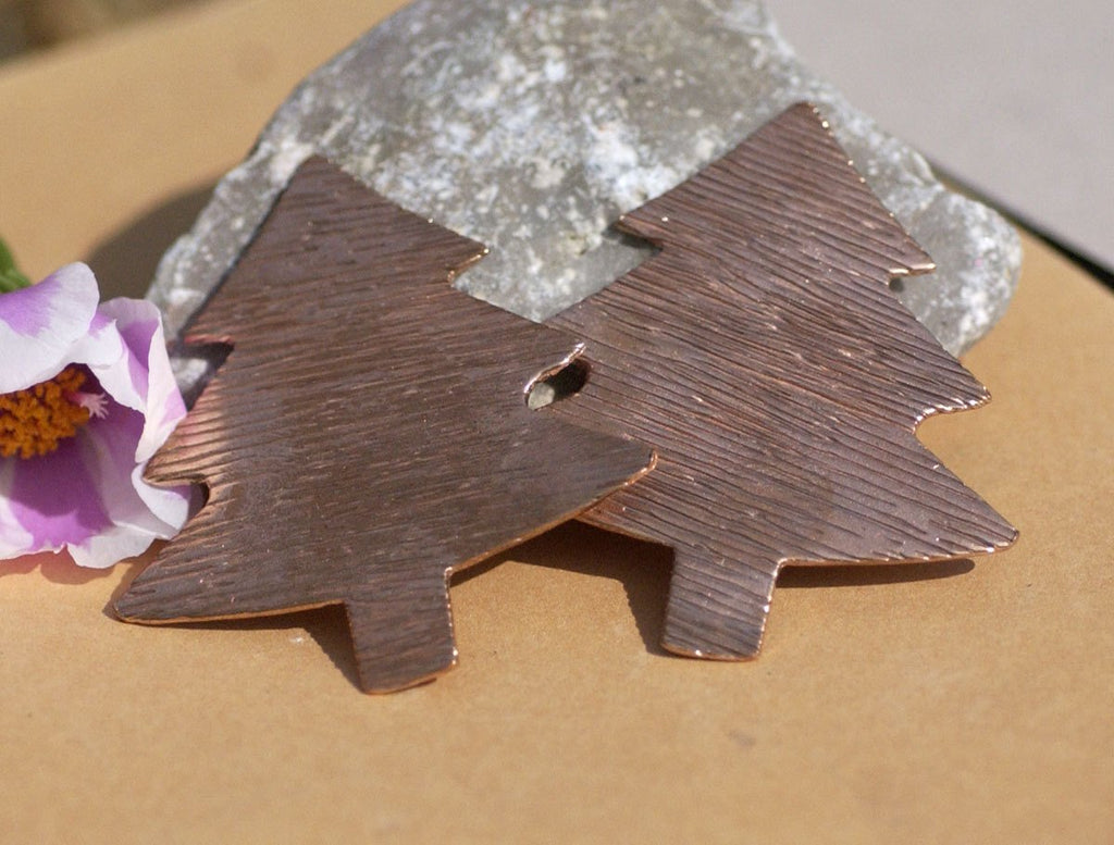 Blank Large Christmas Tree Texture Woodgrain 62mm x 57mm Metal Blanks Shape Form Variety of Metals - 2 pieces