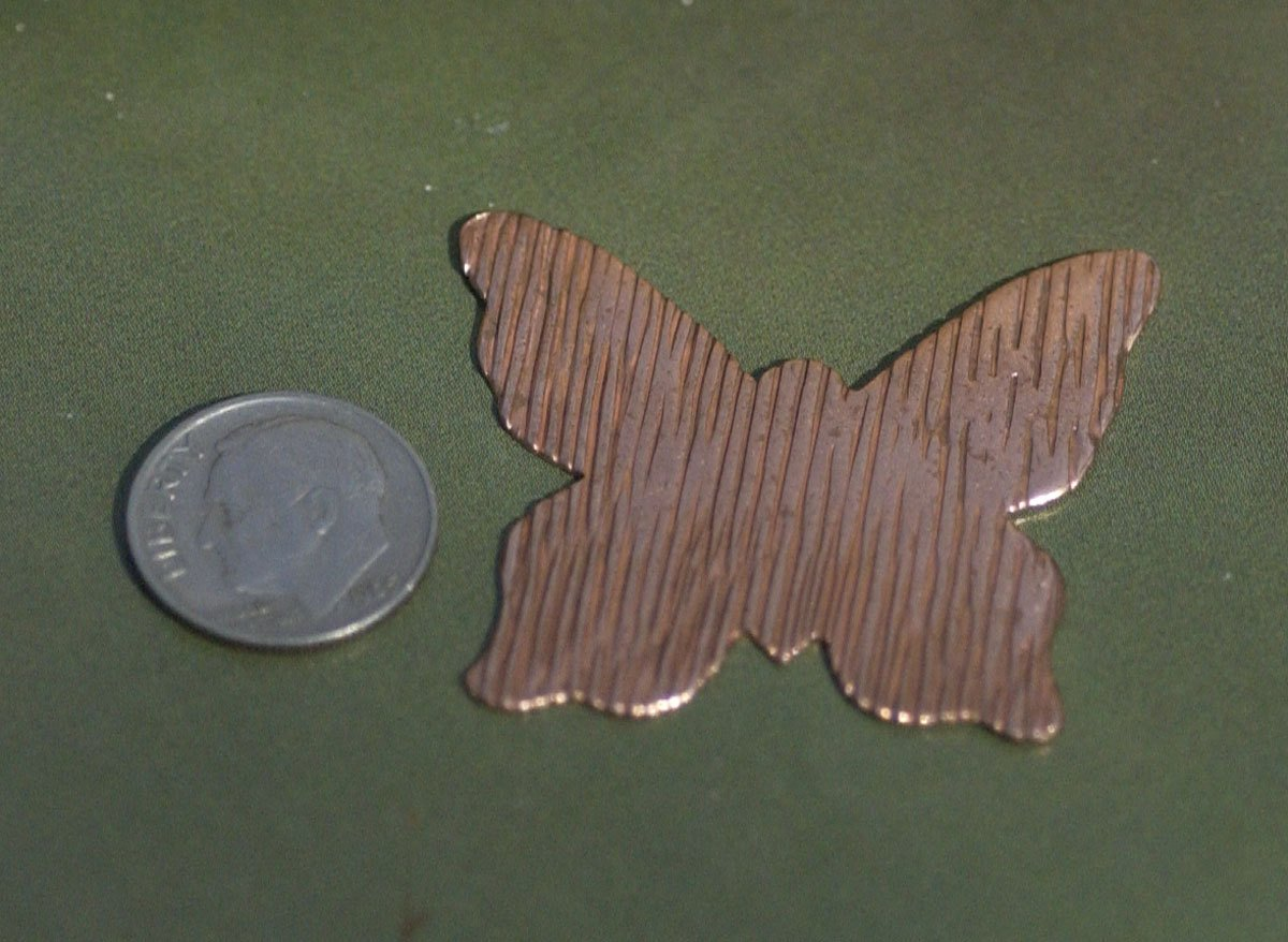 Copper Butterfly Woodgrain 35mm x 40mm Texture Enameling Stamping Texturing Variety Metals