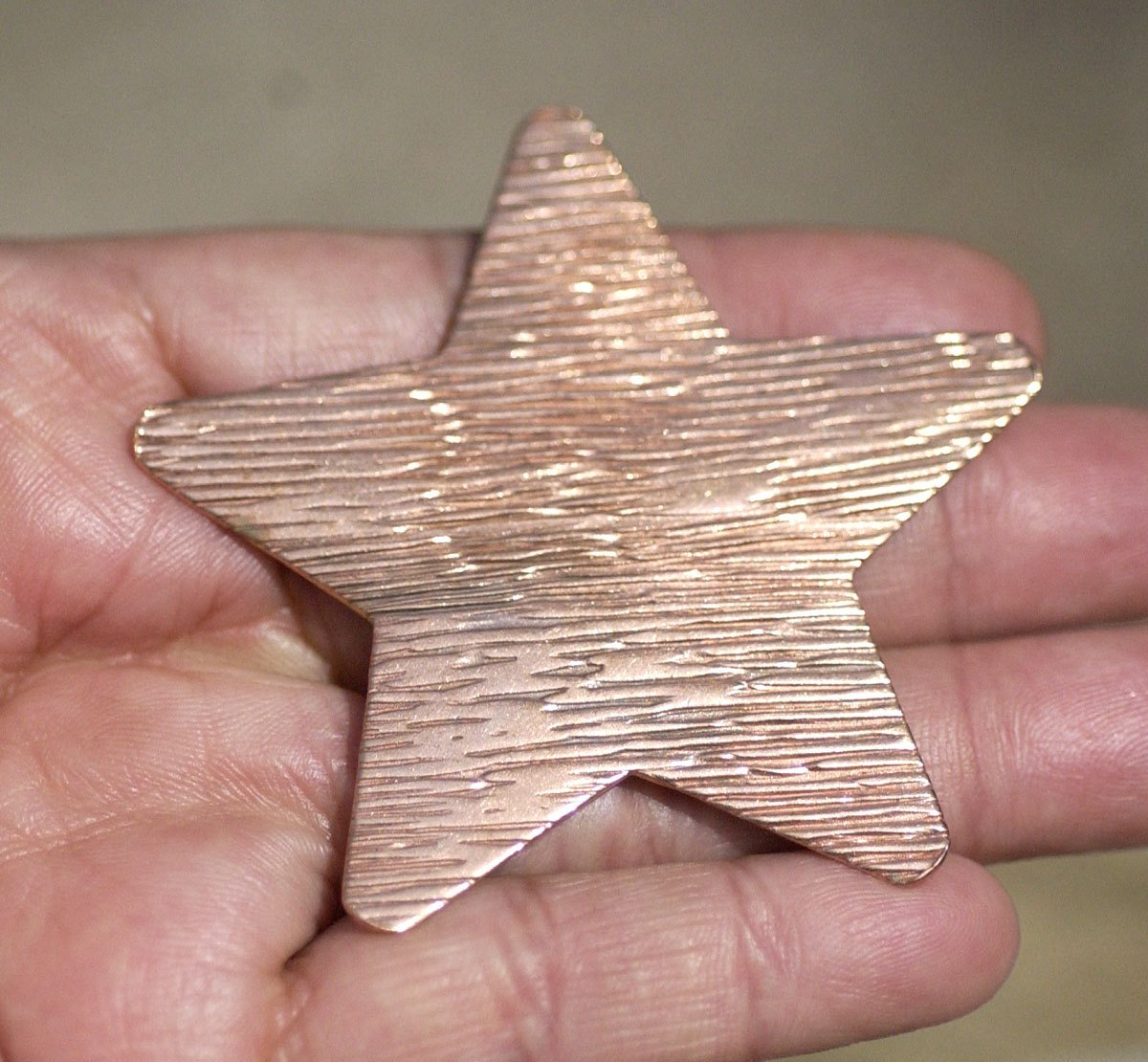 Large Star 62mm Woodgrain Pattern Cutout for Enameling Stamping Texturing Soldering Blanks Variety of Metals - 2 pieces