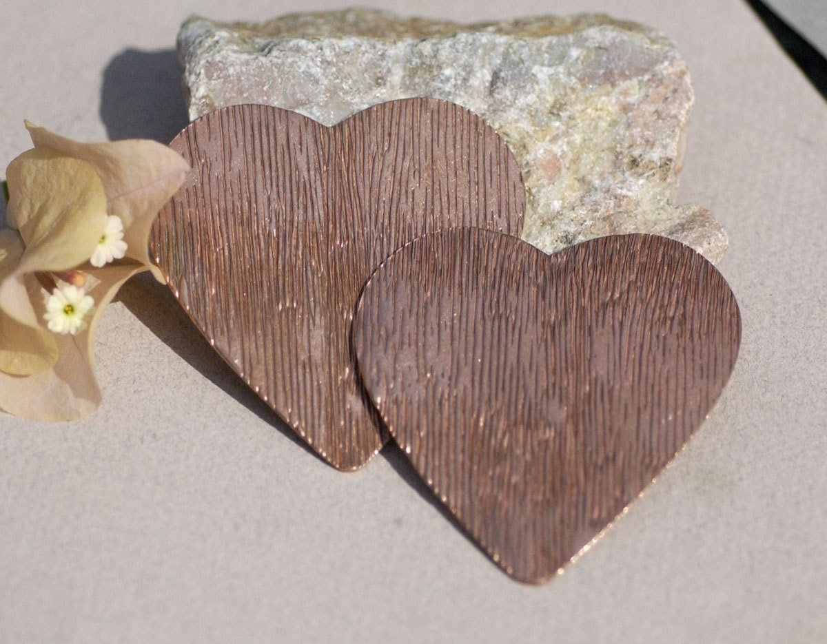 Huge Heart 63mm x 61mm 22g Woodgrain Pattern Blank Cutout for Enameling Stamping Texturing Soldering Blanks Variety of Metals