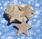Star Blank Woodgrain Pattern 36mm Cutout for Enameling Metalworking Polished Blanks Variety of Metals - 5 pieces