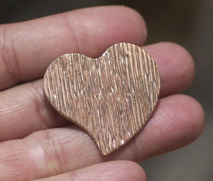 Buy Woodgrain Pattern Heart Whimsy 30mm x 32mm Blanks for Enameling Metalworking Stamping Texturing Blanks Variety of Metals online