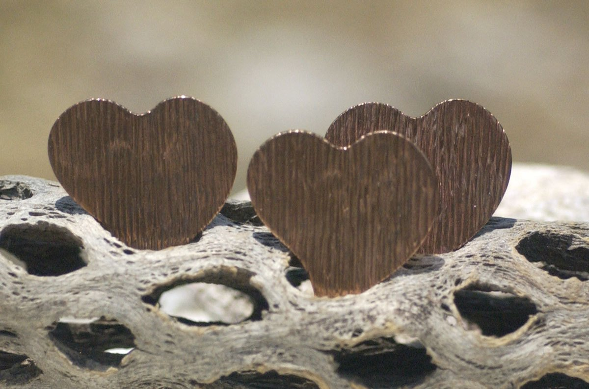 Woodgrain Pattern Heart Whimsy 30mm x 32mm Blanks for Enameling Metalworking Stamping Texturing Blanks Variety of Metals
