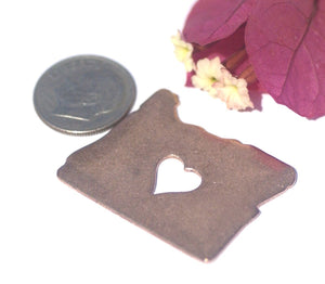 Oregon State Cutout Heart Perfect Blanks for Enameling Metalworking Stamping Texturing Blank Variety of Metals - 4 pieces