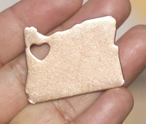 Oregon State Cutout Heart Chubby Blanks for Enameling Metalworking Stamping Texturing Blank Vaiety of Metals - 4 pieces