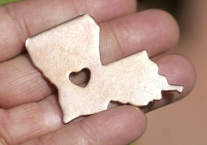 Louisiana State with Heart Chubby 6.6mm Blanks Cutout for Metalworking for Enameling Metalworking Blank Variety of Metals