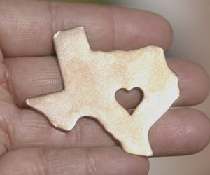 Texas State with Heart Perfect Cute Blanks Cutout for Metalworking Stamping Texturing Blank Variety of Metals -  4 Pieces