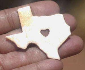Texas State with Heart Chubby 6mm Cute Blanks Cutout for Metalworking Stamping Texturing Blank Variety of Metals