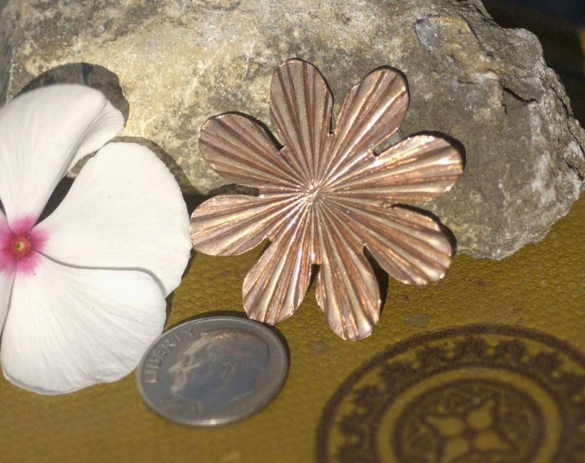 Sunflower Ruffled Pattern Cutout for Blanks Enameling Stamping Texturing Variety of Metals - 3 Pieces